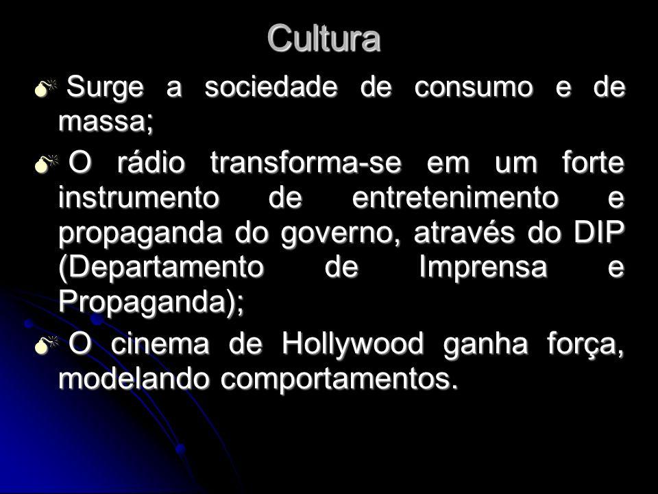 Cultura Surge a sociedade de consumo e de massa ; Surge a sociedade de consumo e de massa ; O rádio transforma-se em um forte instrumento de entreteni