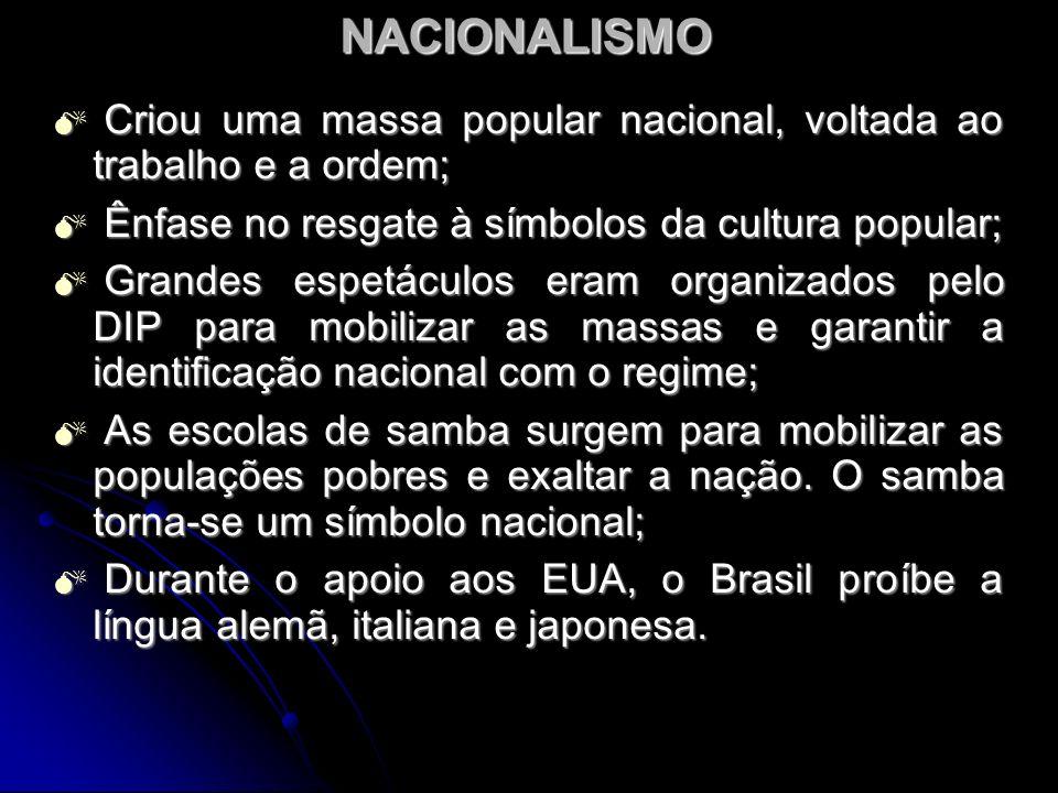 NACIONALISMO Criou uma massa popular nacional, voltada ao trabalho e a ordem; Criou uma massa popular nacional, voltada ao trabalho e a ordem; Ênfase