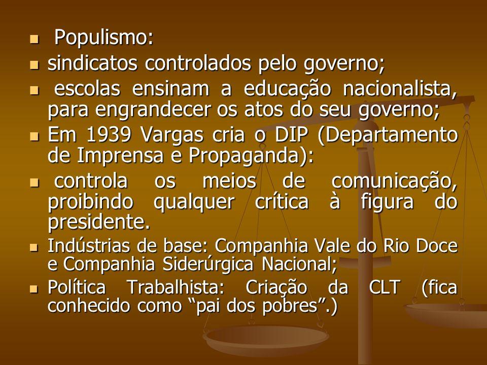Populismo: Populismo: sindicatos controlados pelo governo; sindicatos controlados pelo governo; escolas ensinam a educação nacionalista, para engrande