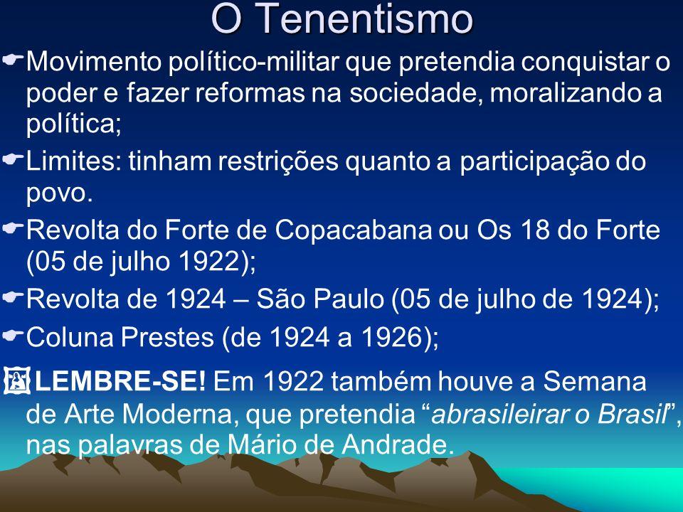 O Tenentismo Movimento político-militar que pretendia conquistar o poder e fazer reformas na sociedade, moralizando a política; Limites: tinham restri
