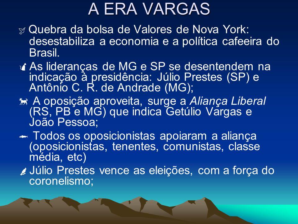 A ERA VARGAS Quebra da bolsa de Valores de Nova York: desestabiliza a economia e a política cafeeira do Brasil. As lideranças de MG e SP se desentende