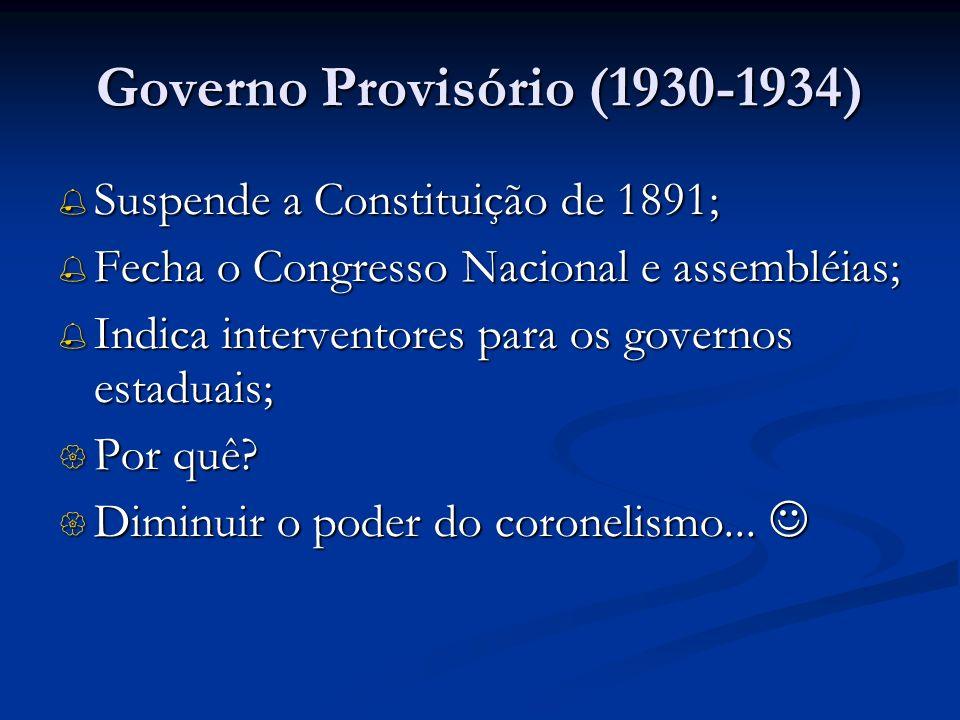 Governo Provisório (1930-1934) Suspende a Constituição de 1891; Suspende a Constituição de 1891; Fecha o Congresso Nacional e assembléias; Fecha o Con