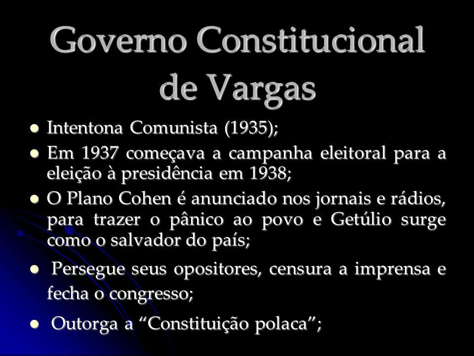 Governo Constitucional de Vargas Intentona Comunista (1935); Intentona Comunista (1935); Em 1937 começava a campanha eleitoral para a eleição à presid