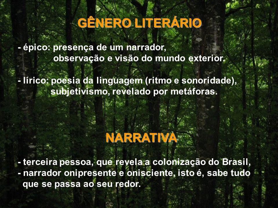 GÊNERO LITERÁRIO - épico: presença de um narrador, observação e visão do mundo exterior.