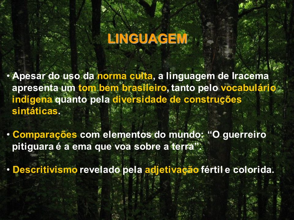 LINGUAGEM Apesar do uso da norma culta, a linguagem de Iracema apresenta um tom bem brasileiro, tanto pelo vocabulário indígena quanto pela diversidade de construções sintáticas.