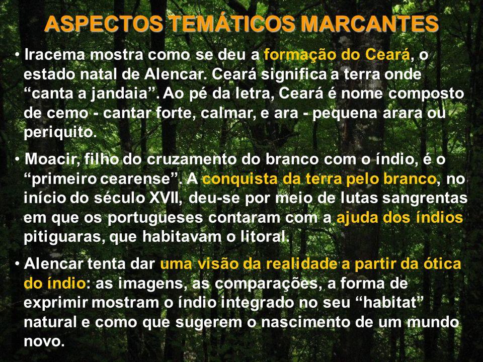 ASPECTOS TEMÁTICOS MARCANTES Iracema mostra como se deu a formação do Ceará, o estado natal de Alencar.