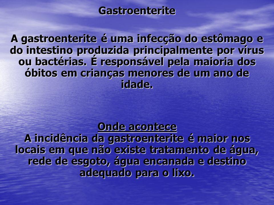 Gastroenterite A gastroenterite é uma infecção do estômago e do intestino produzida principalmente por vírus ou bactérias. É responsável pela maioria