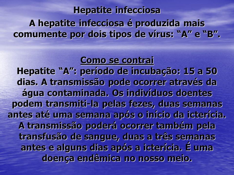 Hepatite infecciosa A hepatite infecciosa é produzida mais comumente por dois tipos de vírus: A e B. Como se contrai Hepatite A: período de incubação: