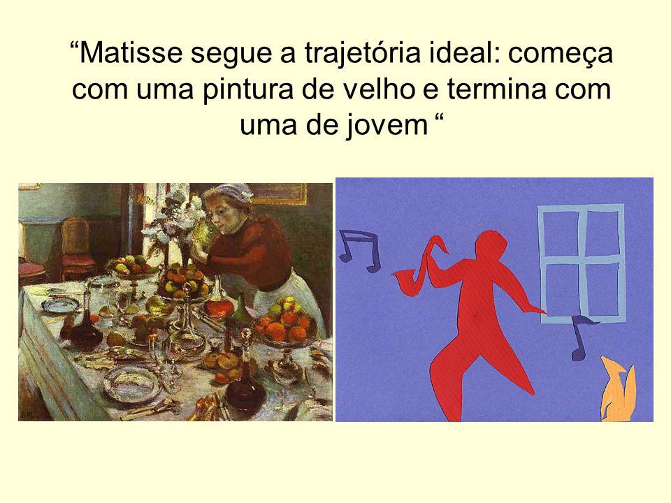 Matisse segue a trajetória ideal: começa com uma pintura de velho e termina com uma de jovem