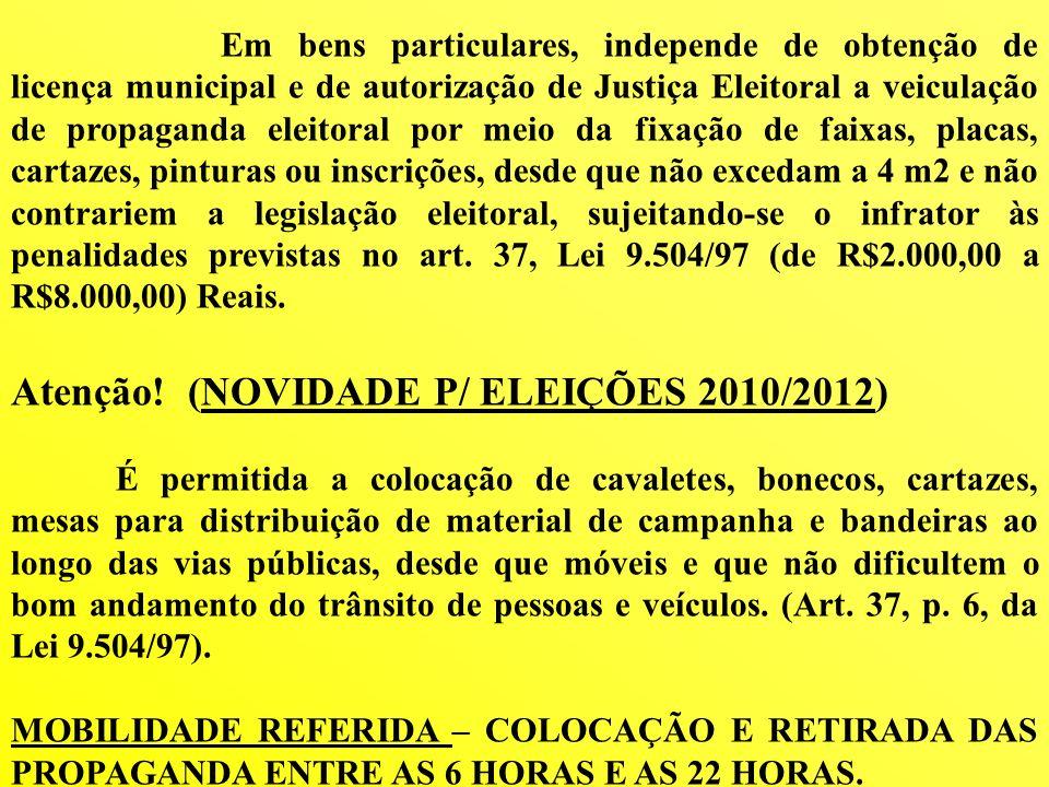 Em bens particulares, independe de obtenção de licença municipal e de autorização de Justiça Eleitoral a veiculação de propaganda eleitoral por meio d