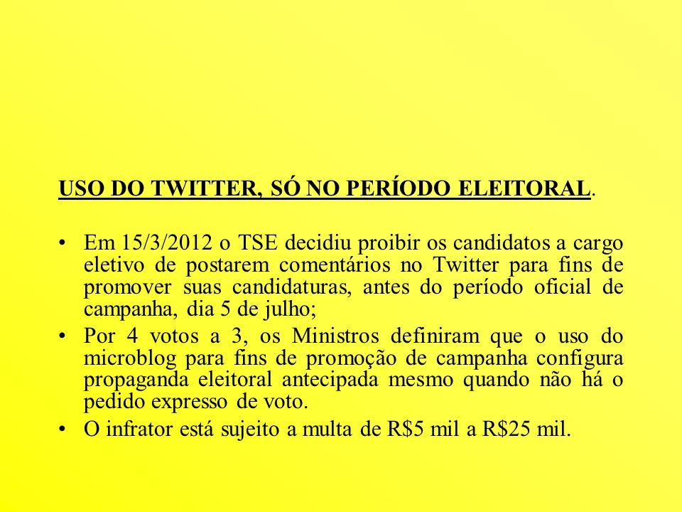 USO DO TWITTER, SÓ NO PERÍODO ELEITORAL. Em 15/3/2012 o TSE decidiu proibir os candidatos a cargo eletivo de postarem comentários no Twitter para fins