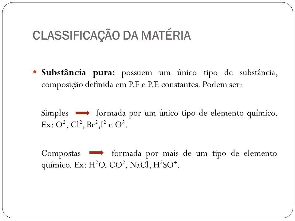 CLASSIFICAÇÃO DA MATÉRIA Substância pura: possuem um único tipo de substância, composição definida em P.F e P.E constantes. Podem ser: Simples formada