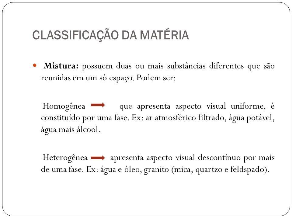 CLASSIFICAÇÃO DA MATÉRIA Mistura: possuem duas ou mais substâncias diferentes que são reunidas em um só espaço. Podem ser: Homogênea que apresenta asp