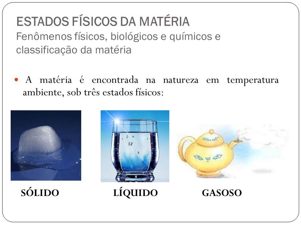 ESTADOS FÍSICOS DA MATÉRIA Fenômenos físicos, biológicos e químicos e classificação da matéria A matéria é encontrada na natureza em temperatura ambie