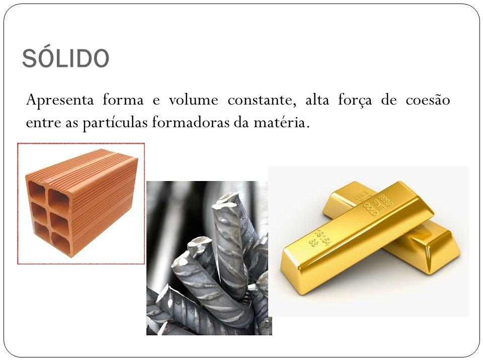 LÍQUIDO Apresenta forma variável (depende do recipiente onde é armazenada) e volume constante.