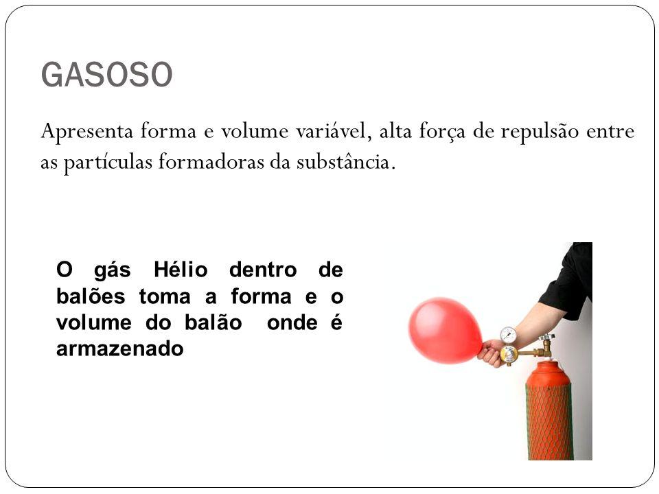 GASOSO Apresenta forma e volume variável, alta força de repulsão entre as partículas formadoras da substância. O gás Hélio dentro de balões toma a for