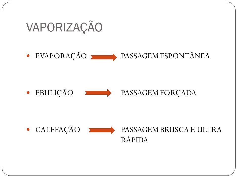 VAPORIZAÇÃO EVAPORAÇÃO PASSAGEM ESPONTÂNEA EBULIÇÃOPASSAGEM FORÇADA CALEFAÇÃOPASSAGEM BRUSCA E ULTRA RÁPIDA