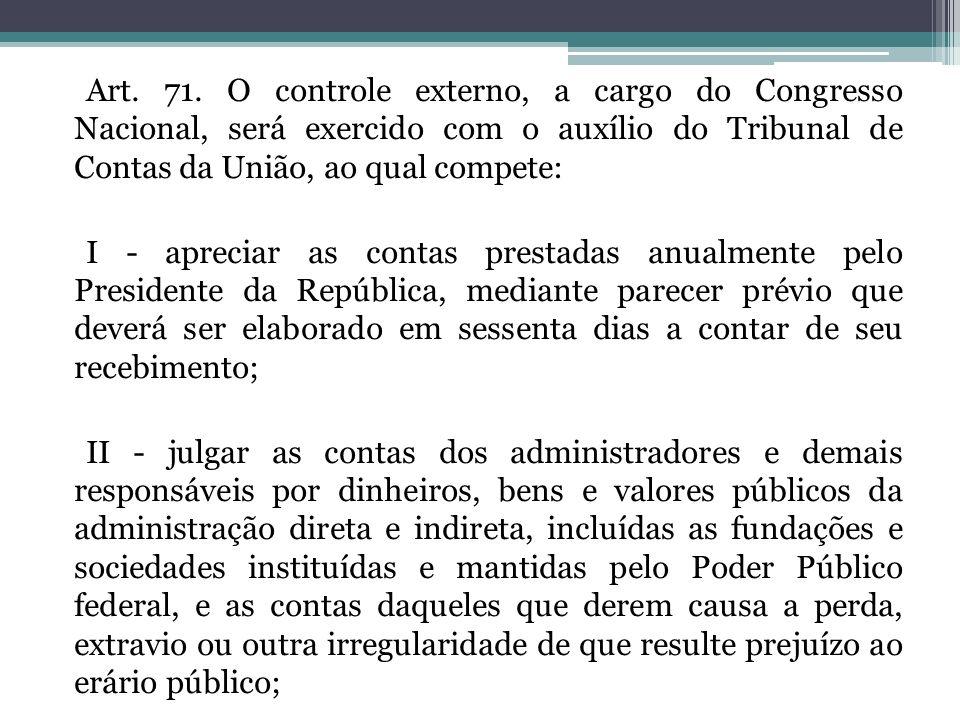 Art. 71. O controle externo, a cargo do Congresso Nacional, será exercido com o auxílio do Tribunal de Contas da União, ao qual compete: I - apreciar