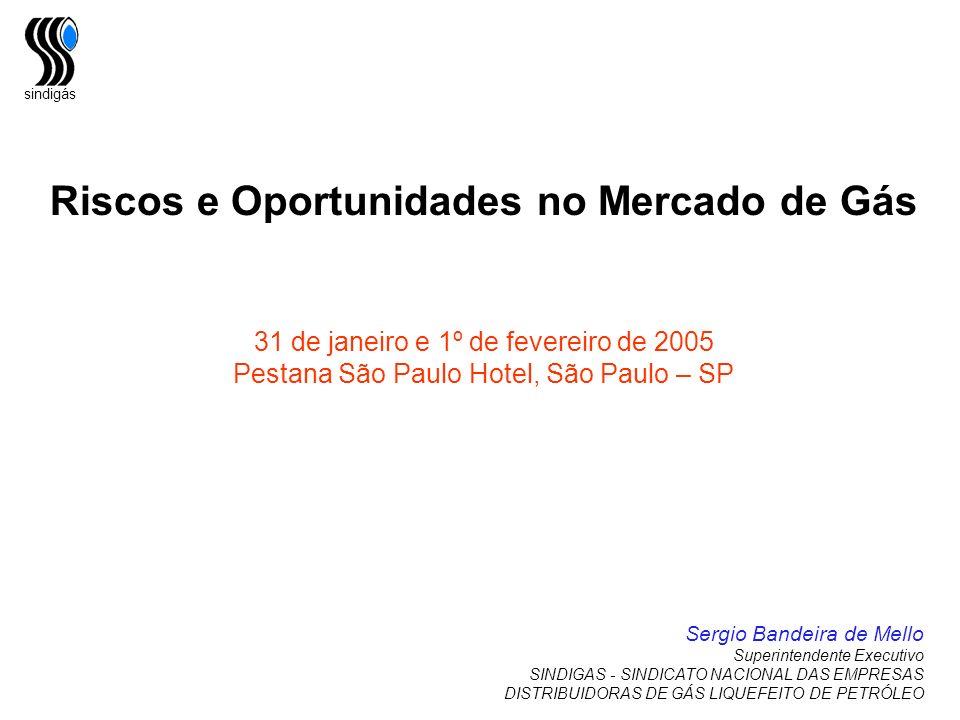 sindigás Riscos e Oportunidades no Mercado de Gás 31 de janeiro e 1º de fevereiro de 2005 Pestana São Paulo Hotel, São Paulo – SP Sergio Bandeira de M
