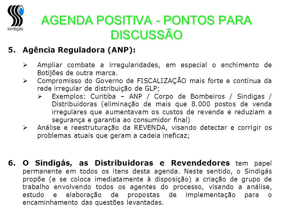 sindigás 5.Agência Reguladora (ANP): Ampliar combate a irregularidades, em especial o enchimento de Botijões de outra marca. Compromisso do Governo de