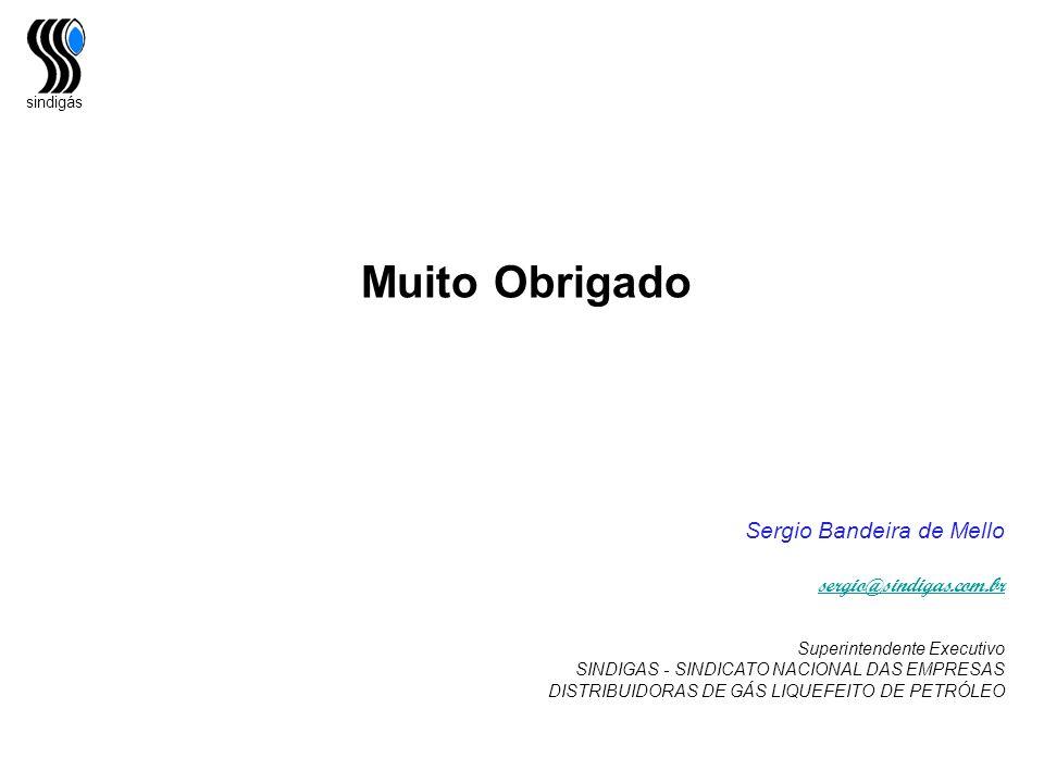 sindigás Muito Obrigado Sergio Bandeira de Mello sergio@sindigas.com.br Superintendente Executivo SINDIGAS - SINDICATO NACIONAL DAS EMPRESAS DISTRIBUI