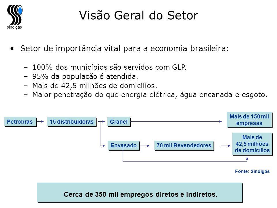 sindigás Visão Geral do Setor Setor de importância vital para a economia brasileira: –100% dos municípios são servidos com GLP. –95% da população é at