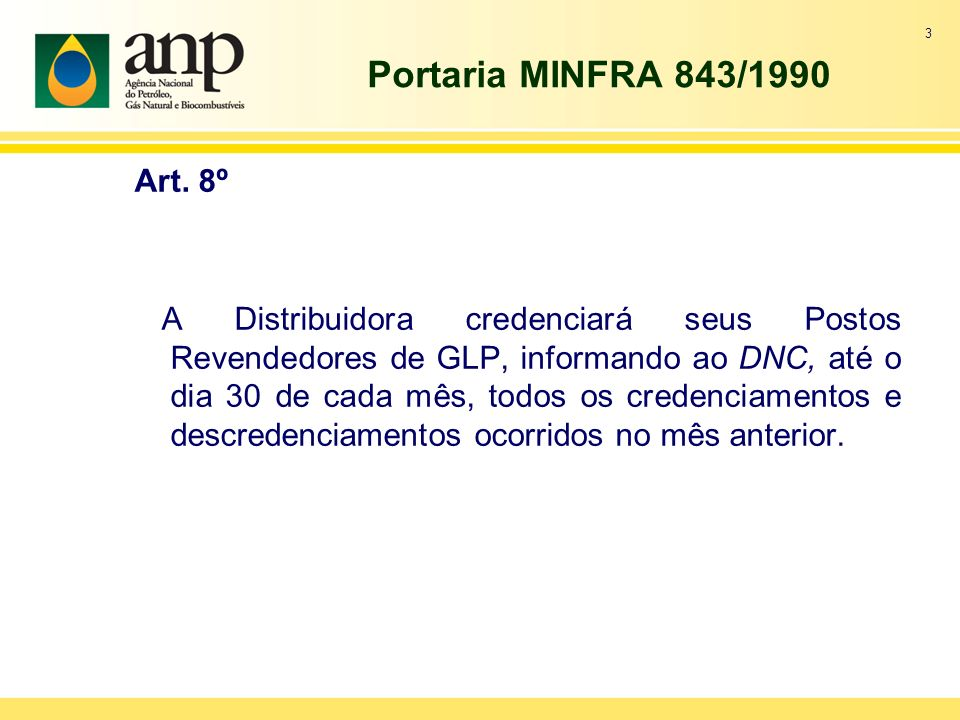 Portaria MINFRA 843/1990 Art.