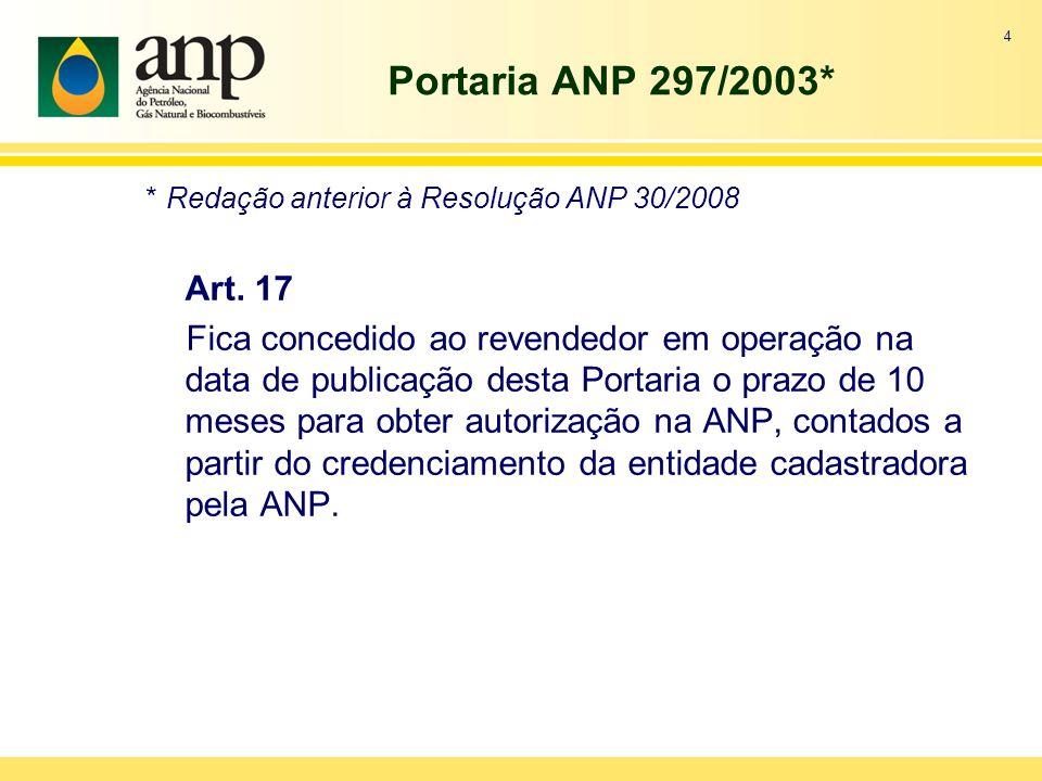 Portaria ANP 297/2003* * Redação anterior à Resolução ANP 30/2008 Art.