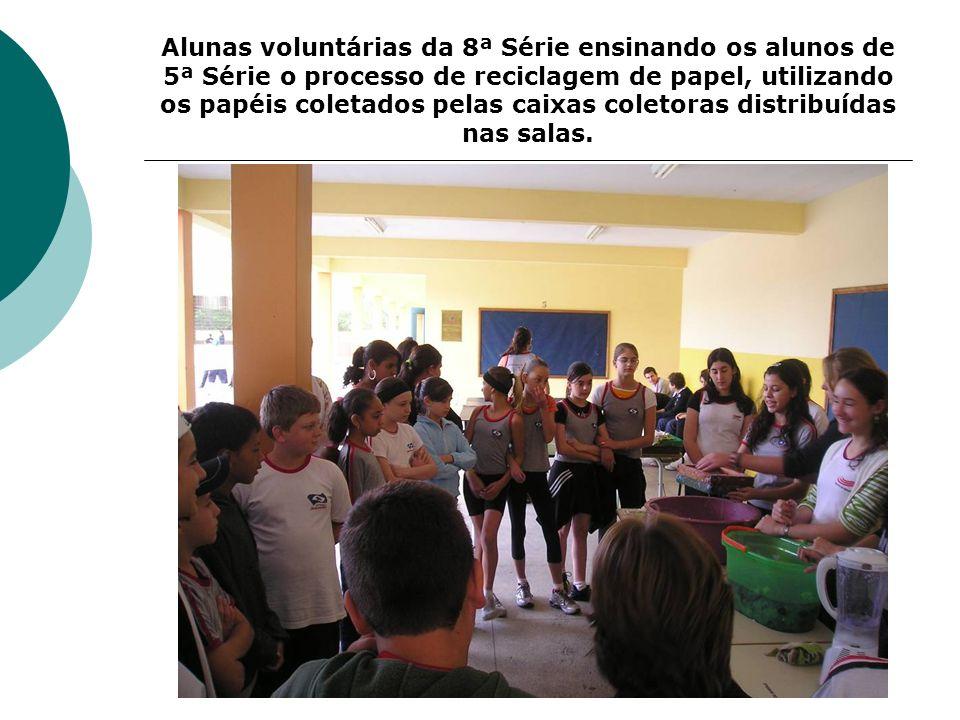 Alunas voluntárias da 8ª Série ensinando os alunos de 5ª Série o processo de reciclagem de papel, utilizando os papéis coletados pelas caixas coletora