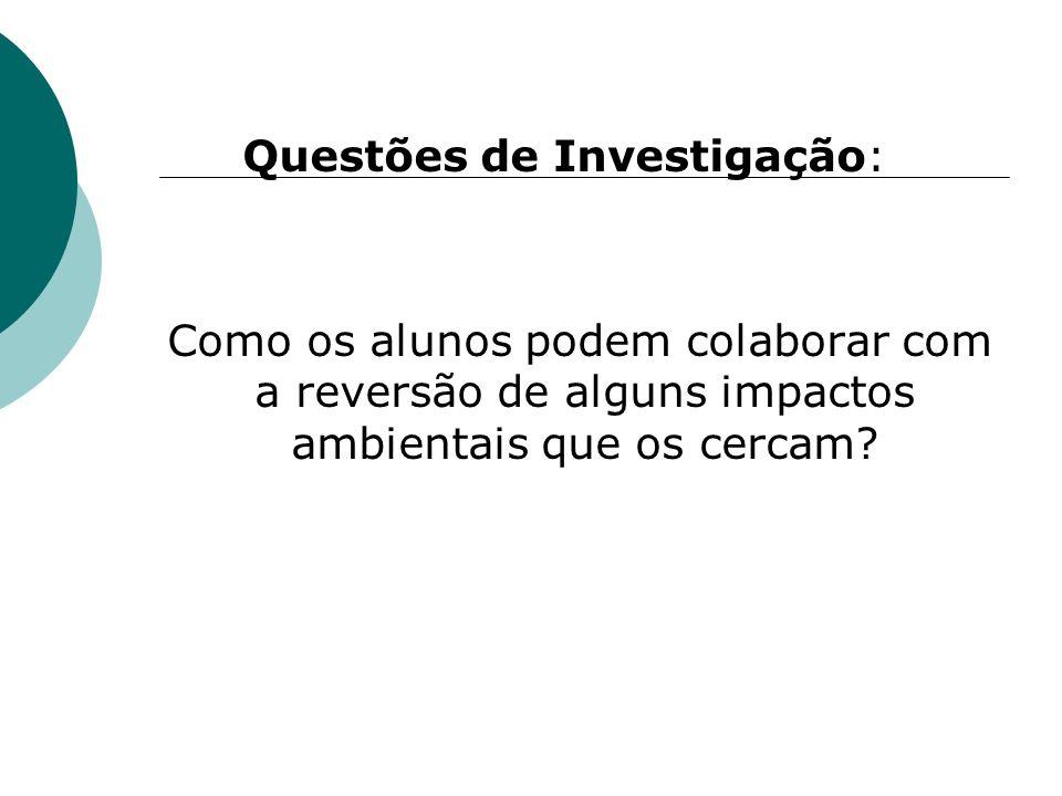 Questões de Investigação: Como os alunos podem colaborar com a reversão de alguns impactos ambientais que os cercam?