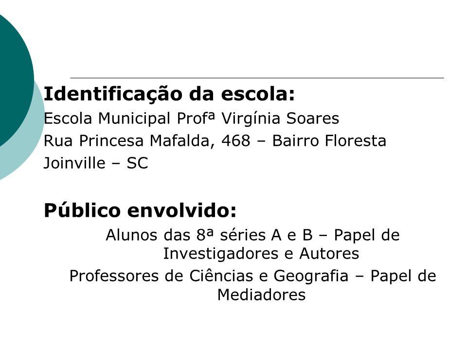 Identificação da escola: Escola Municipal Profª Virgínia Soares Rua Princesa Mafalda, 468 – Bairro Floresta Joinville – SC Público envolvido: Alunos d