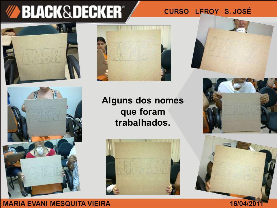 MARIA EVANI MESQUITA VIEIRA CURSO LEROY S. JOSÉ 16/04/2011 Alguns dos nomes que foram trabalhados.