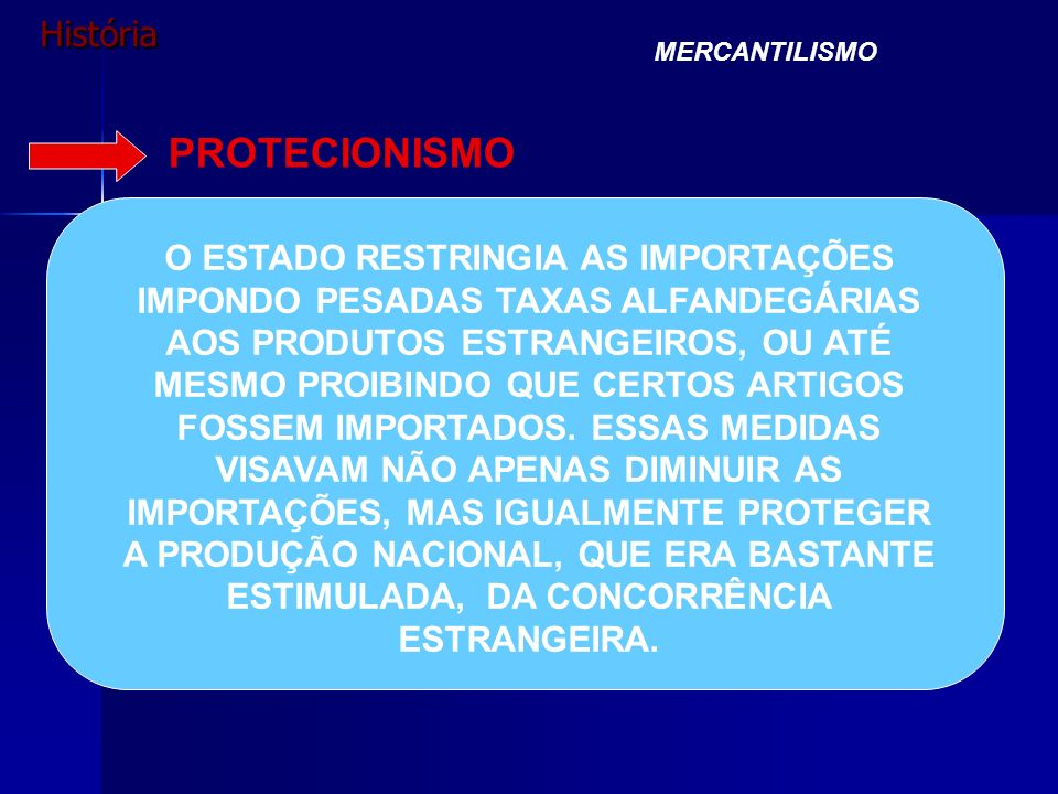 História MERCANTILISMO PROTECIONISMO O ESTADO RESTRINGIA AS IMPORTAÇÕES IMPONDO PESADAS TAXAS ALFANDEGÁRIAS AOS PRODUTOS ESTRANGEIROS, OU ATÉ MESMO PR