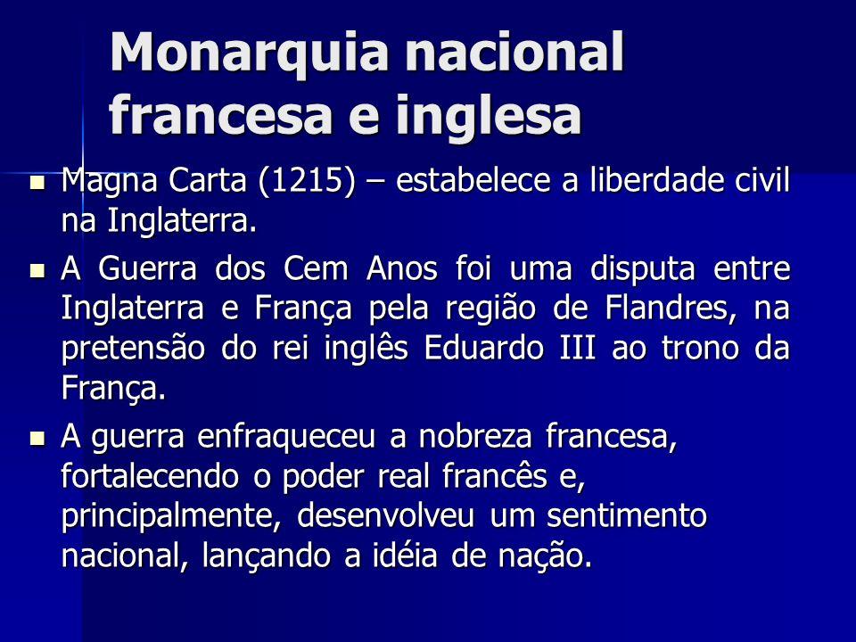 Monarquia nacional francesa e inglesa Magna Carta (1215) – estabelece a liberdade civil na Inglaterra. Magna Carta (1215) – estabelece a liberdade civ