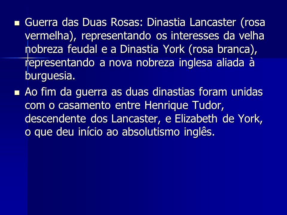 Guerra das Duas Rosas: Dinastia Lancaster (rosa vermelha), representando os interesses da velha nobreza feudal e a Dinastia York (rosa branca), repres