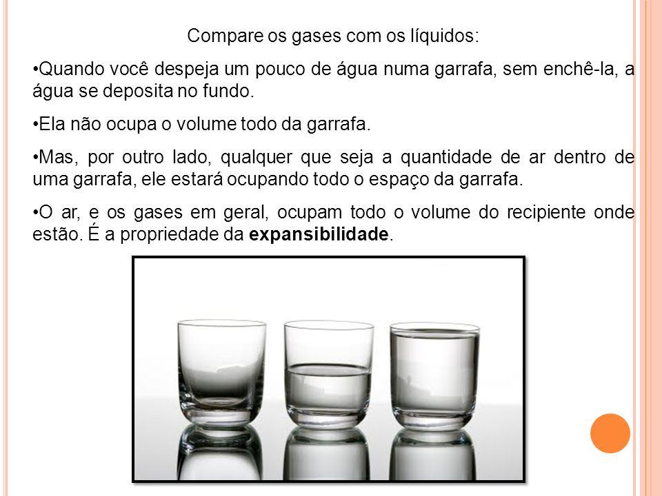 Compare os gases com os líquidos: Quando você despeja um pouco de água numa garrafa, sem enchê-la, a água se deposita no fundo. Ela não ocupa o volume