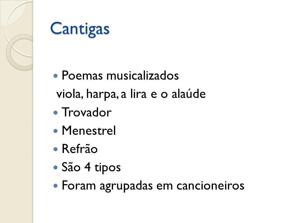 Cantigas Poemas musicalizados viola, harpa, a lira e o alaúde Trovador Menestrel Refrão São 4 tipos Foram agrupadas em cancioneiros