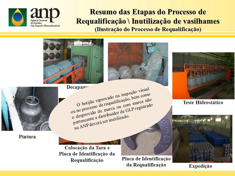 Decapagem Teste Hidrostático Troca de Alça e Base Pintura Colocação da Tara e Placa de Identificação da Requalificação Expedição Placa de Identificaçã