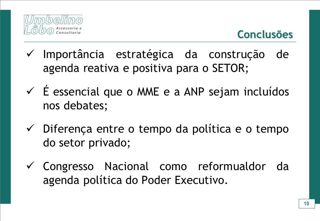 10 Conclusões Importância estratégica da construção de agenda reativa e positiva para o SETOR; É essencial que o MME e a ANP sejam incluídos nos debat