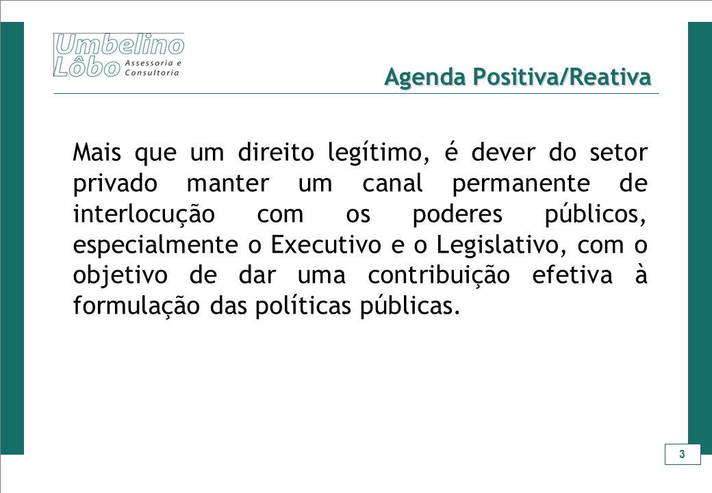 3 Agenda Positiva/Reativa Mais que um direito legítimo, é dever do setor privado manter um canal permanente de interlocução com os poderes públicos, e