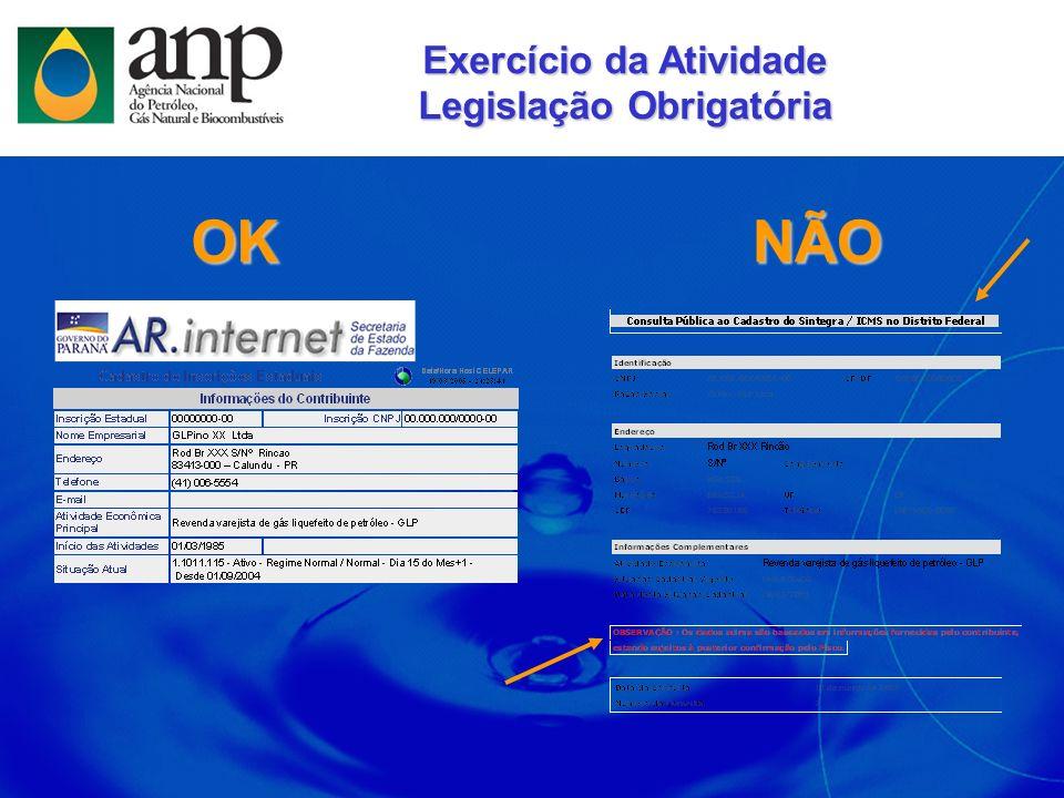 OKNÃO Exercício da Atividade Legislação Obrigatória
