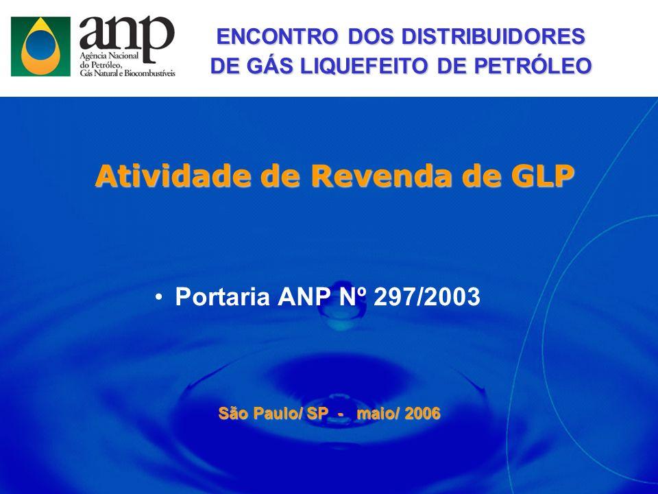 Atividade de Revenda de GLP São Paulo/ SP - maio/ 2006 Portaria ANP Nº 297/2003 ENCONTRO DOS DISTRIBUIDORES DE GÁS LIQUEFEITO DE PETRÓLEO