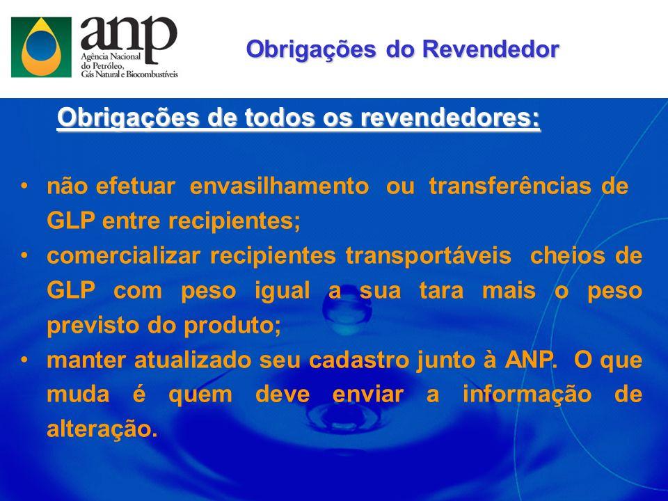 não efetuar envasilhamento ou transferências de GLP entre recipientes; comercializar recipientes transportáveis cheios de GLP com peso igual a sua tar