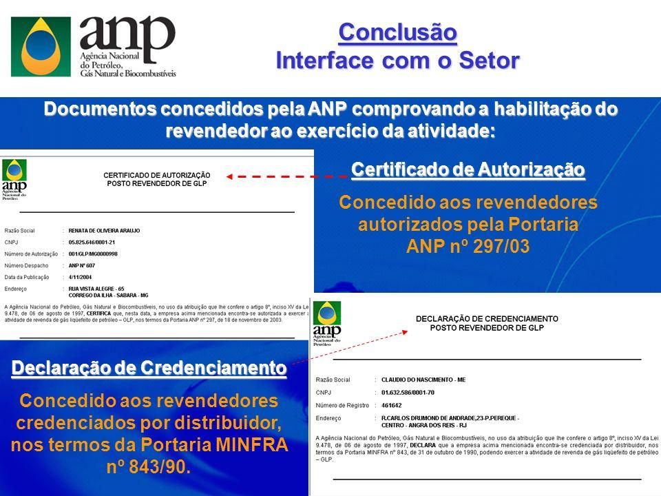 Documentos concedidos pela ANP comprovando a habilitação do revendedor ao exercício da atividade: Declaração de Credenciamento Concedido aos revendedo