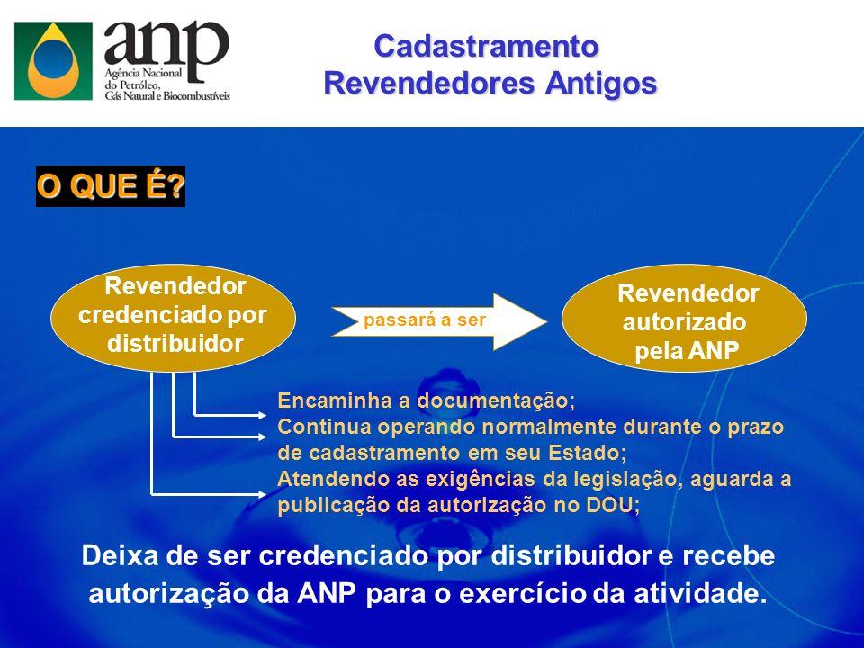 Cadastramento Revendedores Antigos Revendedores Antigos Deixa de ser credenciado por distribuidor e recebe autorização da ANP para o exercício da ativ