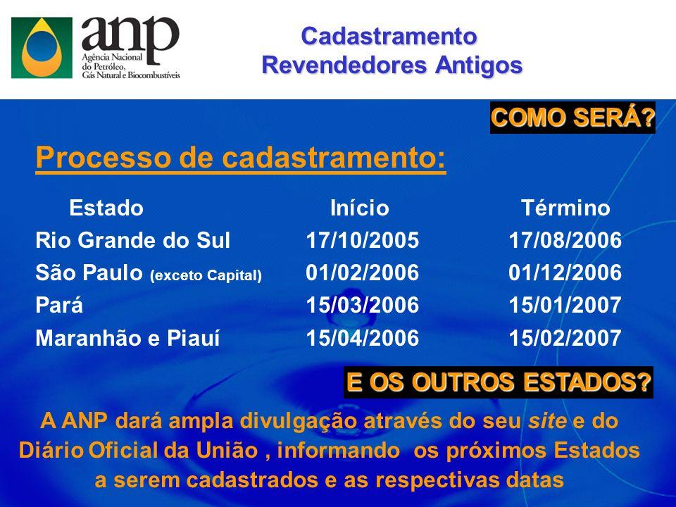 Processo de cadastramento: Estado Início Término Rio Grande do Sul17/10/200517/08/2006 São Paulo (exceto Capital) 01/02/200601/12/2006 Pará15/03/20061