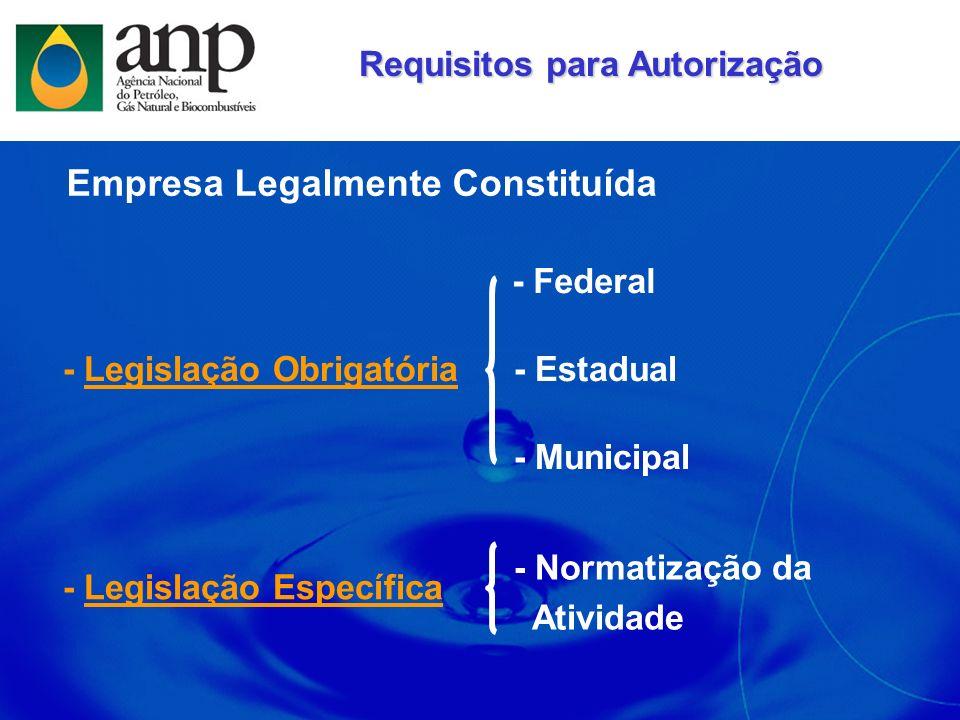 Empresa Constituída: CNPJ Contrato Social Autorizada a Comercializar: Inscrição Estadual / SEF 1 - Legislação Obrigatória Aspectos Legais - Requeridos pela ANP Atendimento à Legislação Revenda de GLP: Alvará de Licença e Funcionamento Certificado de Vistoria do CBM