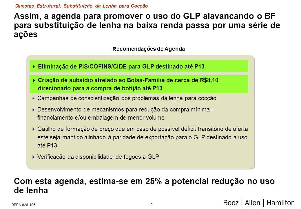 18RPBA-026-106 Assim, a agenda para promover o uso do GLP alavancando o BF para substituição de lenha na baixa renda passa por uma série de ações Elim
