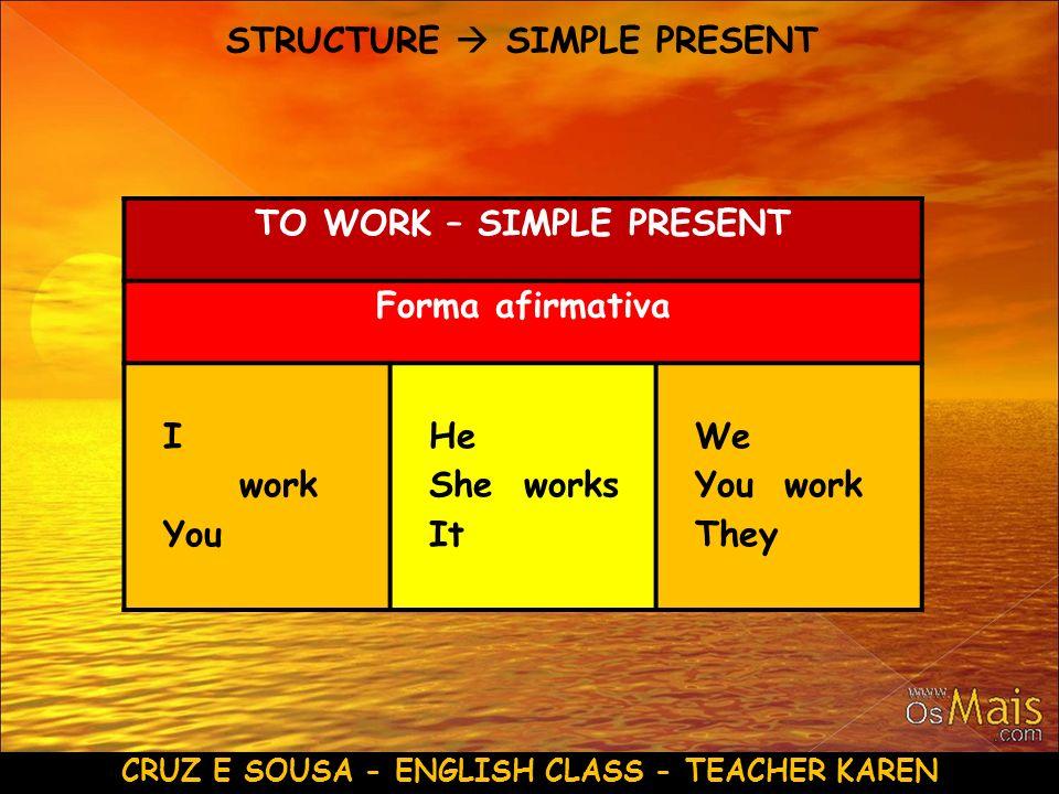 CRUZ E SOUSA - ENGLISH CLASS - TEACHER KAREN STRUCTURE SIMPLE PRESENT TO WORK – SIMPLE PRESENT Forma afirmativa I work You He She works It We You work