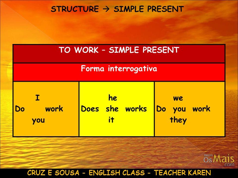CRUZ E SOUSA - ENGLISH CLASS - TEACHER KAREN STRUCTURE SIMPLE PRESENT TO WORK – SIMPLE PRESENT Forma interrogativa I Do work you he Does she works it